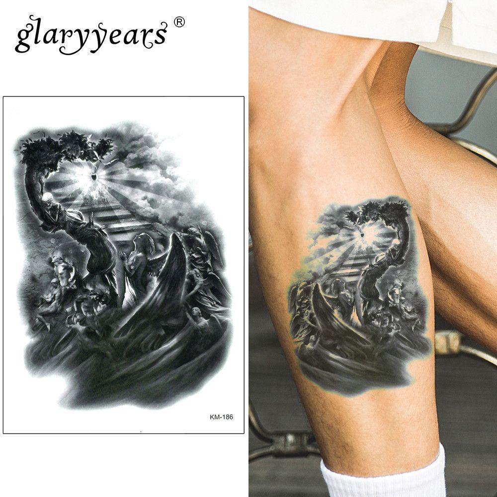 3f68cfd1ff360 Glaryyears 15*21cm Temporary Tattoo Sticker Light Fake Tatoo Person Flash  Tatto Waterproof Small Body Art Men Women KM 186 Face Temporary Tattoos Fake  ...