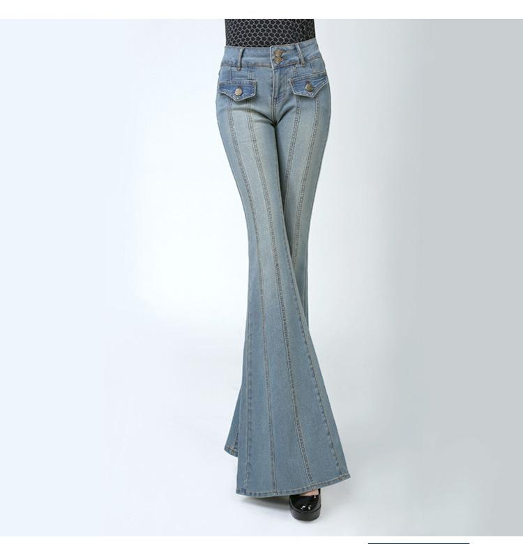 35275e4e 2019 Fashion High Waisted Flare Jean Pants Slim Women Office Lady Casual  Wide Leg Flared Jeans Stretch Bleached Denim Pants From Beautyjewly, ...