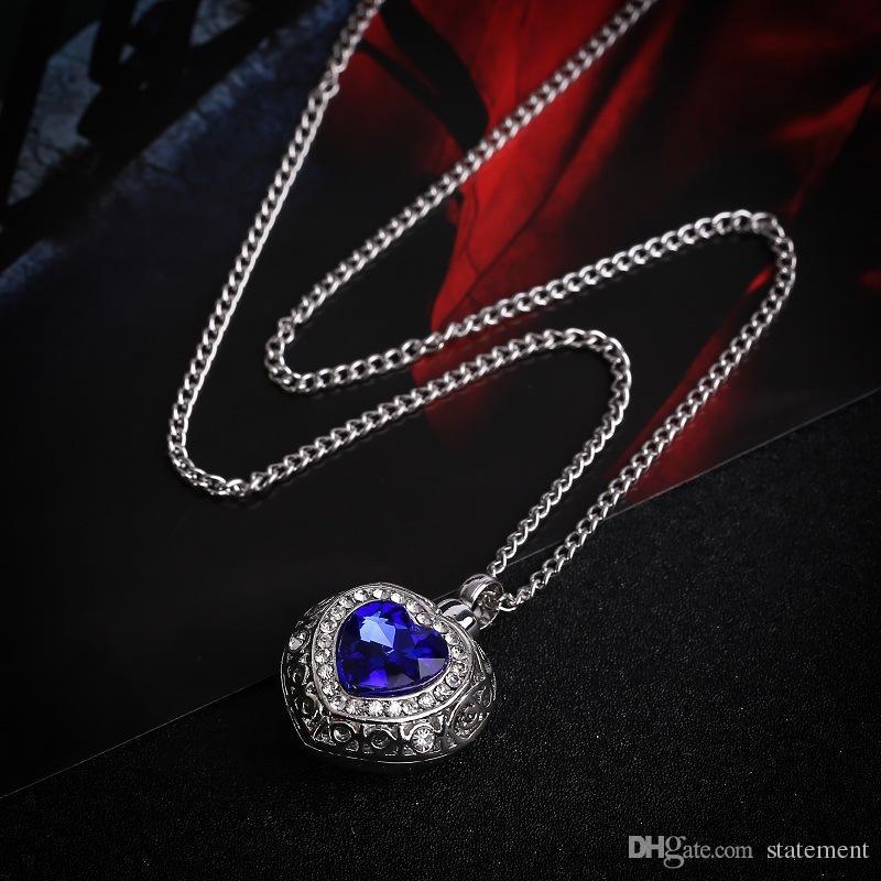 Ciondolo Urna commemorativa Ciondolo Urn Ciondolo Ocean Hearts Sapphire Urn Collana Locket Keepsake Jewelry
