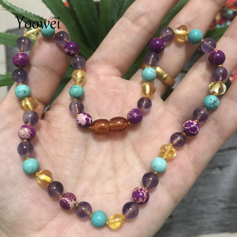 0064720ab12e Yoowei bebé ámbar collar para regalo adulto amatista turquesa joyería de  piedras preciosas naturales báltico ámbar collar pulsera venta al por ...