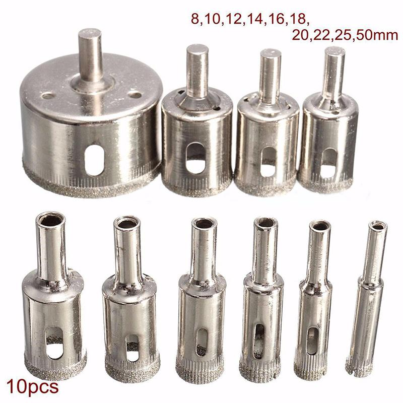 10pcs Diamond Coated Holesaw Set Marble Drill Bit 8/10/12/14/16/18/20/22/25/50mm Mayitr For Tile Ceramic Glass