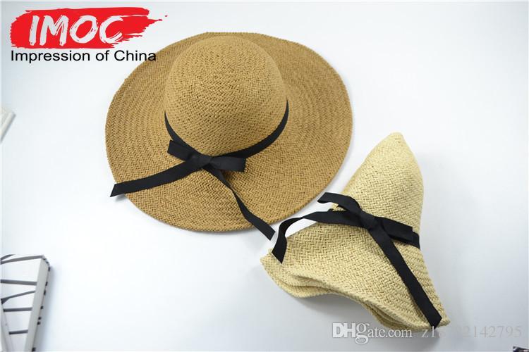 Acquista Large Floppy Hats Cappello Di Paglia Pieghevole Boho Cappello A Tesa  Larga Cappello Estivo Spiaggia Lady Protezione Solare Le Donne A  4.03 Dal  ... 752a0e18a678
