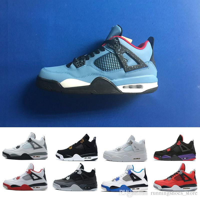 3e11beba0217 Hot 4s Cactus Jack Raptors Jeans Blue White Black KAWS Encore Men  Basketball Shoes 4 Athletic Sport Mens Sneakers Zapatos Trainers Size 13  Sneakers Men Buy ...