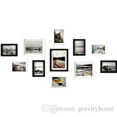 2018 Wooden Multi Photo Frame Picture Frames Wall Hang Collage Black