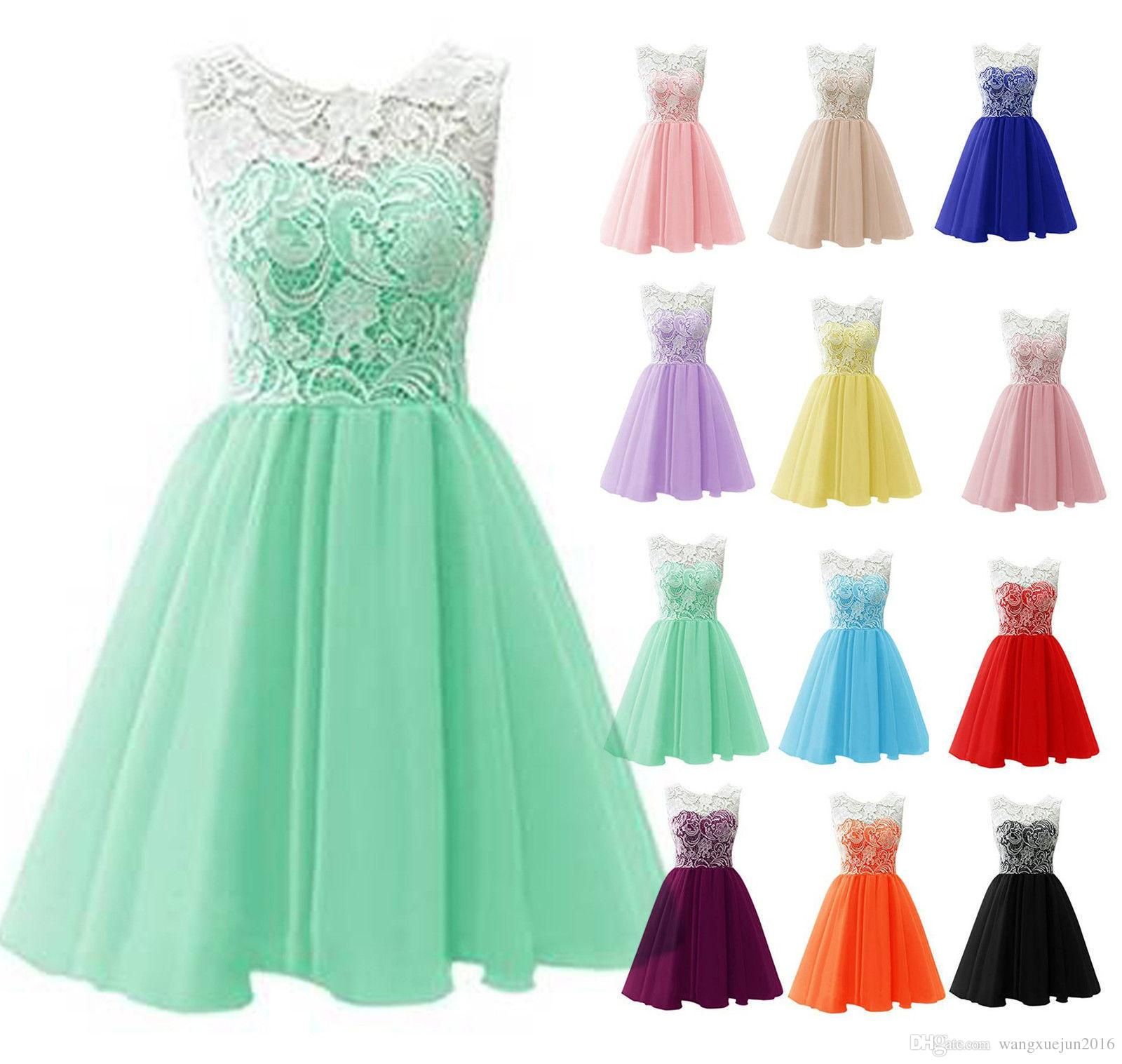 New Short Lace Tulle Bridesmaid Dress Ball Gown 2018 Cheap Mint ...