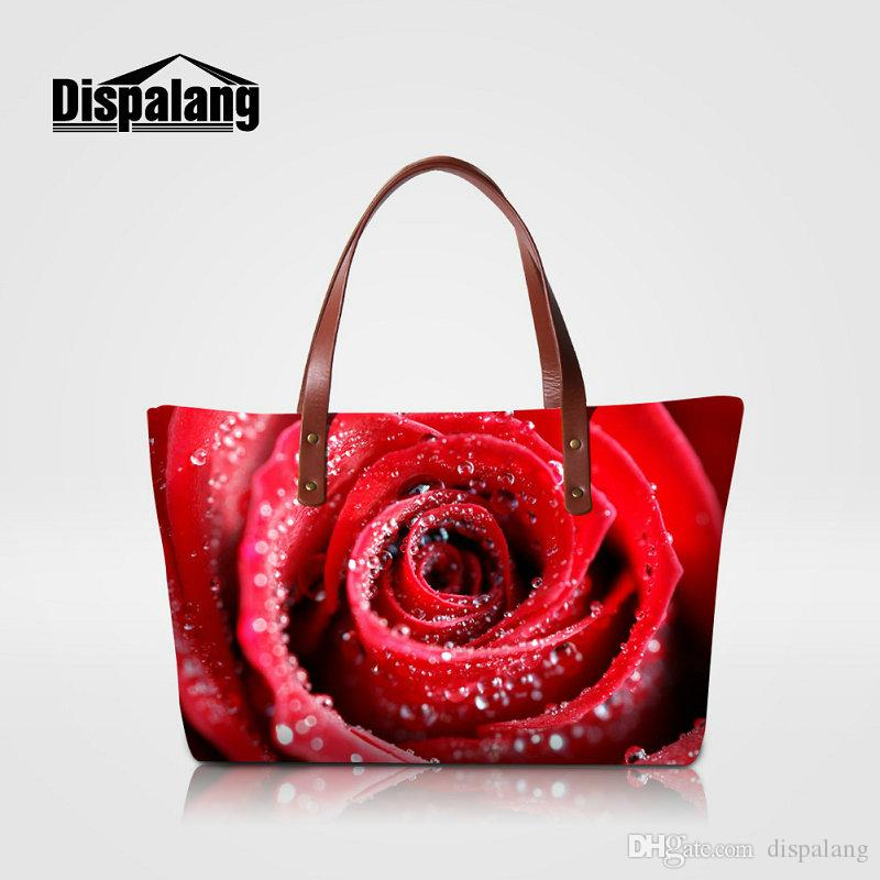 73dcf7e1f8b0 Personality Rose Flower Printing Bags Handbags Women Famous Brands Ladies  Floral Stylish Wedding Totes Girls Beach Bag Mummy Shopping Bolsas Rosetti  ...