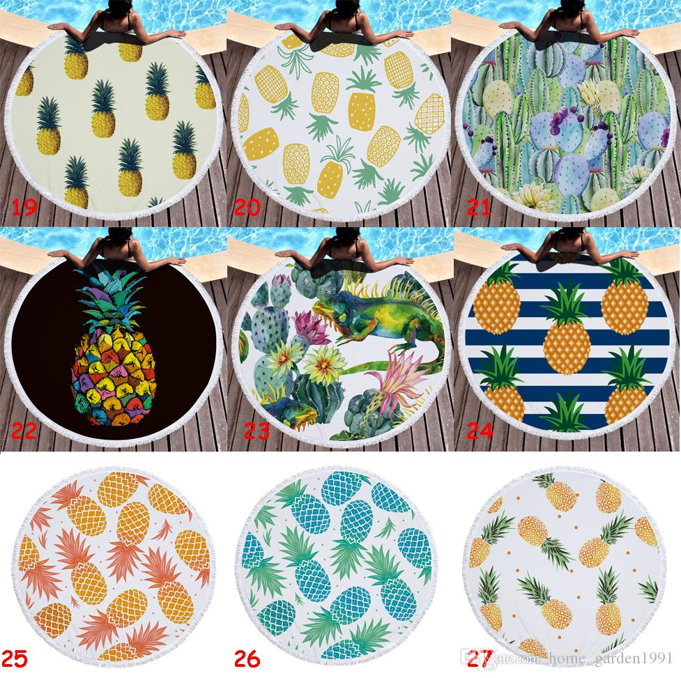 150cm Microfiber Round Beach Towel Thick Soft Super Absorbent Tassel Towels Summer Fruit Pineapple Beach Bath Towels Tapestry 31 Designs