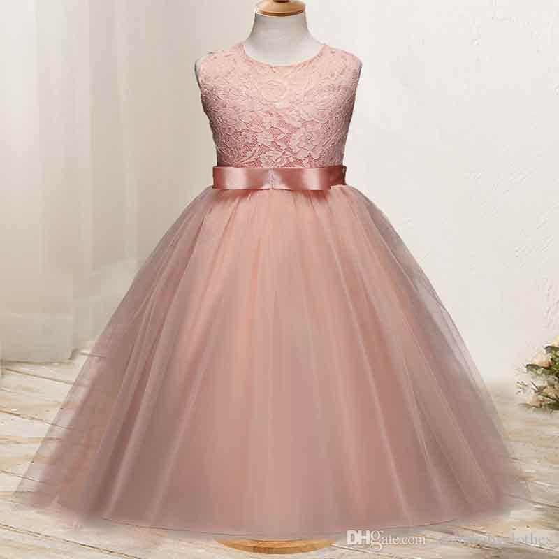 2019 Formal Party Sleeveless Big Girls Ball Gowns Lace Pattern Soft Tulle Princess  Dress 2018 New Style Wedding Girls Dresses From Stellababyclothes bda74cf9feb1