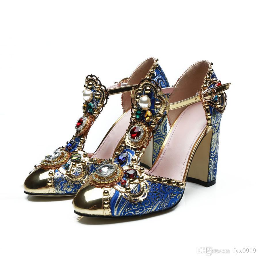 bc19fc4c0d2470 Brand Design Runway Style High Heel Shoes Metal Decor Luxury ...
