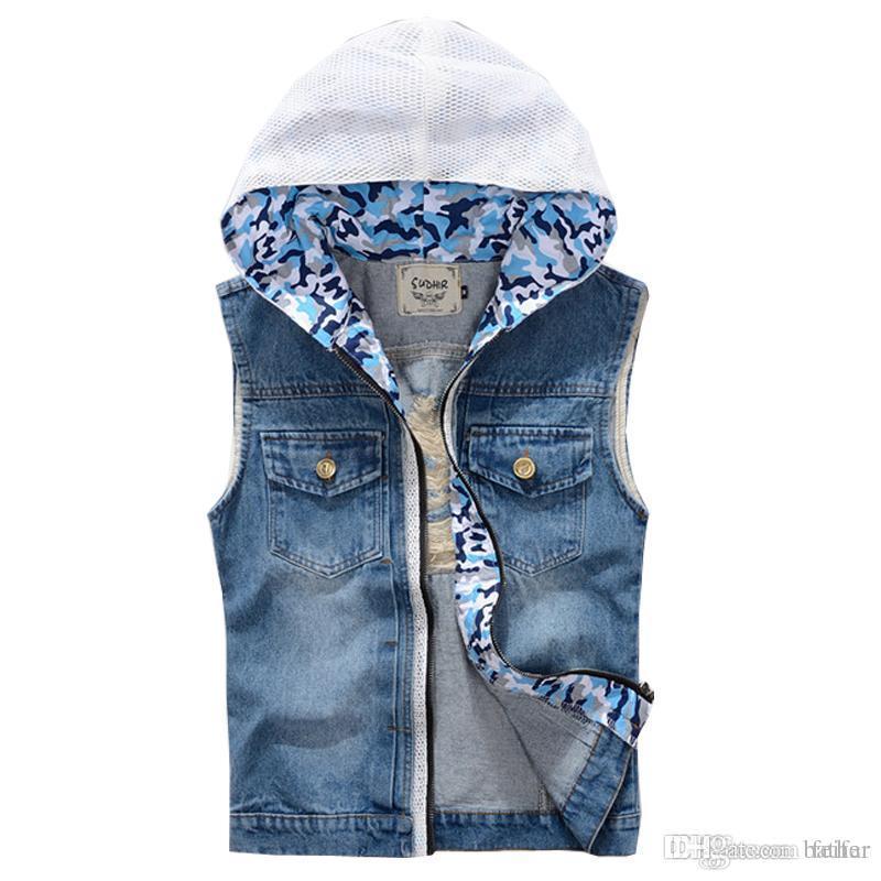 best price professional design modern style Wholesale- 2017 Spring & Summer New Brand Men Jean Vest Hoodies Men's Jeans  Waistcoat Denim Jeans Ves Motorcycle For Men Vest 2XL,PA080