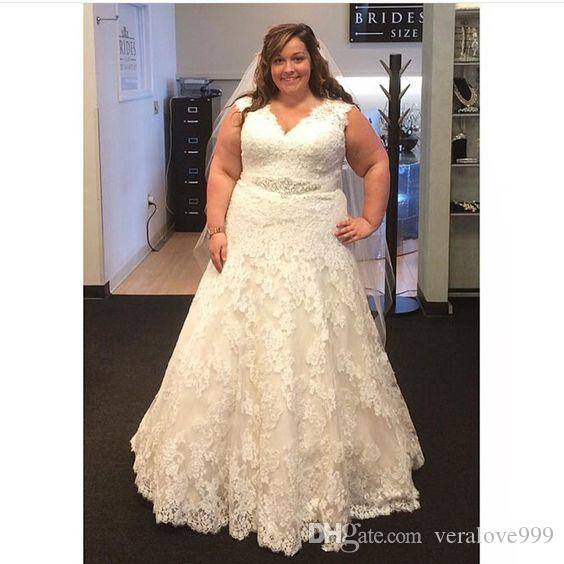 5649282fa19 Discount 2018 Lace Plus Size Wedding Dresses With Sash V Neck Straps Floor  Length Big Women Custom Made Bridal Gowns Corset Back Country Bride Gowns  Wedding ...