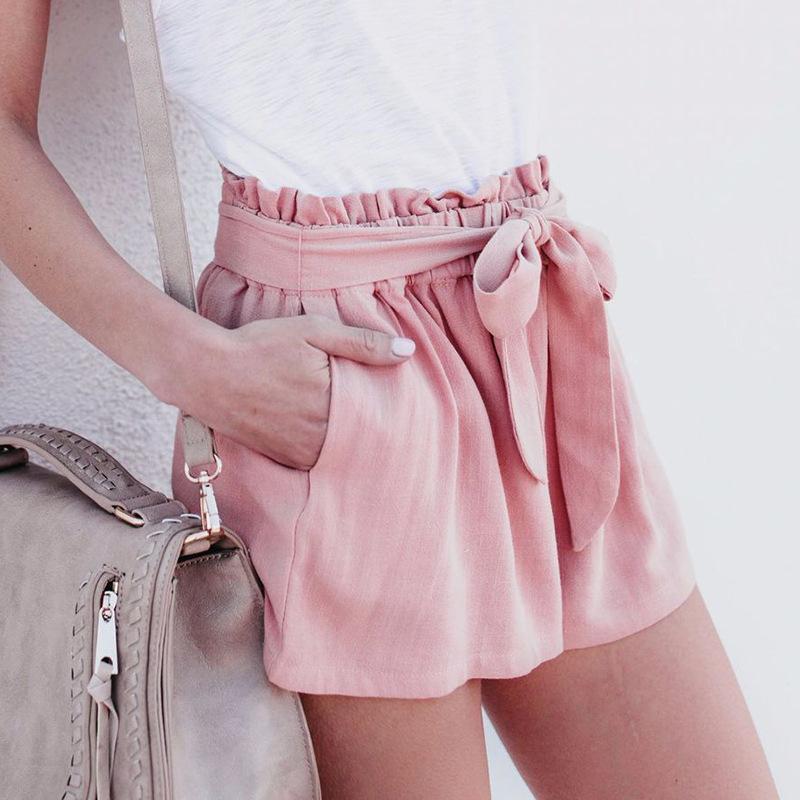 c62d2ab7b Compre 2018 Moda Verano Pantalones Mujeres Sexy Pantalones Cortos De Cintura  Alta Casual Con Arco Color Puro Vendaje Elástico Cintura Corta A  26.13 Del  ...