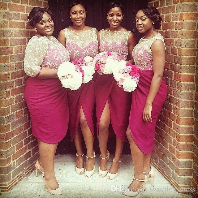 Gorgeous Lace Bateau Short Bridesmaid Dresse Sexy Split Front Pleats P Sheath Sleeveless Short Maid of honor Prom Dresses