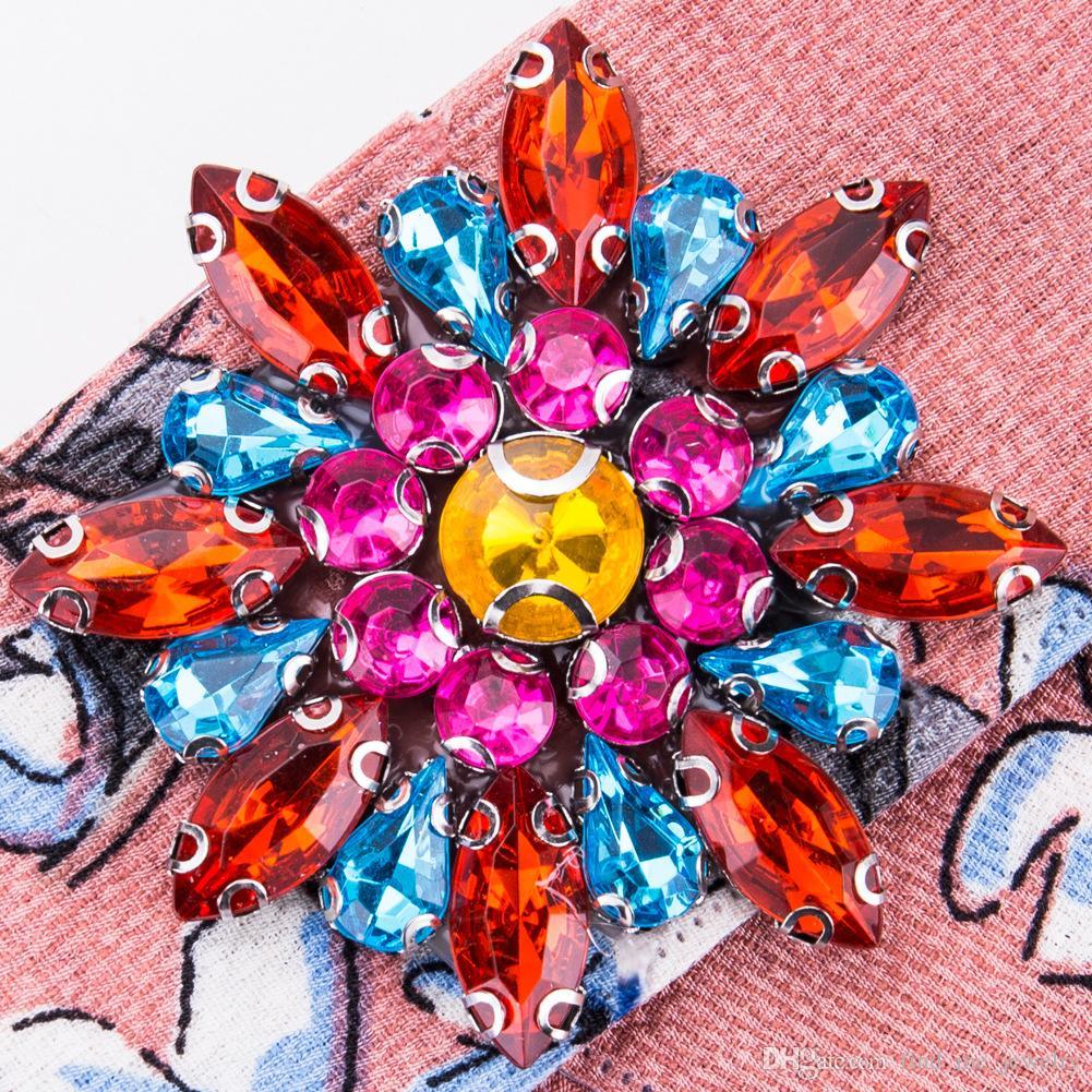 Bohe Acrílico Pin Broche Flor Da Jóia Presente Étnica Moda Promoção Pano de Arte Cor De Cristal Arco Broches para As Mulheres Acessórios de Vestuário