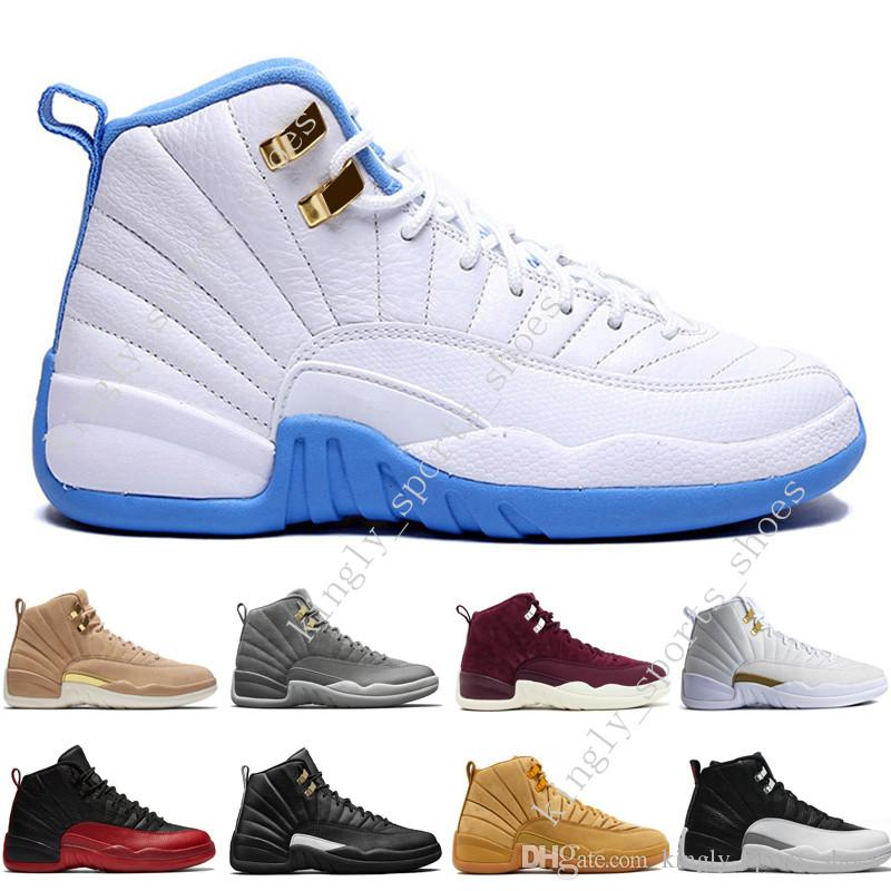 a3f4179f001b08 Cheap 2018 12 12s Mens Basketball Shoes Wheat Dark Grey Bordeaux Flu Game  The Master Taxi Playoffs University French Blue Gym Red Sports Sneakers