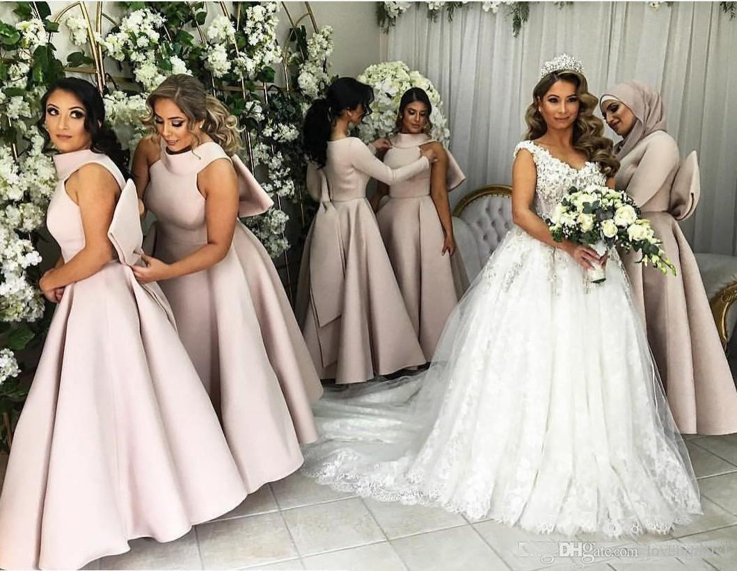2018 Cheap Satin Ankle Length Maid Of Honer Gowns Wedding Party Guest Dresses Bridesmaid Dress Halter With Big Bow Back t Formal Gown