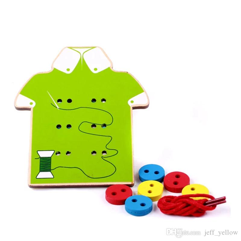 Wooden Threading board Stitch knitting clothes buttons Children Wooden manual Puzzle Early childhood education Puzzle toy
