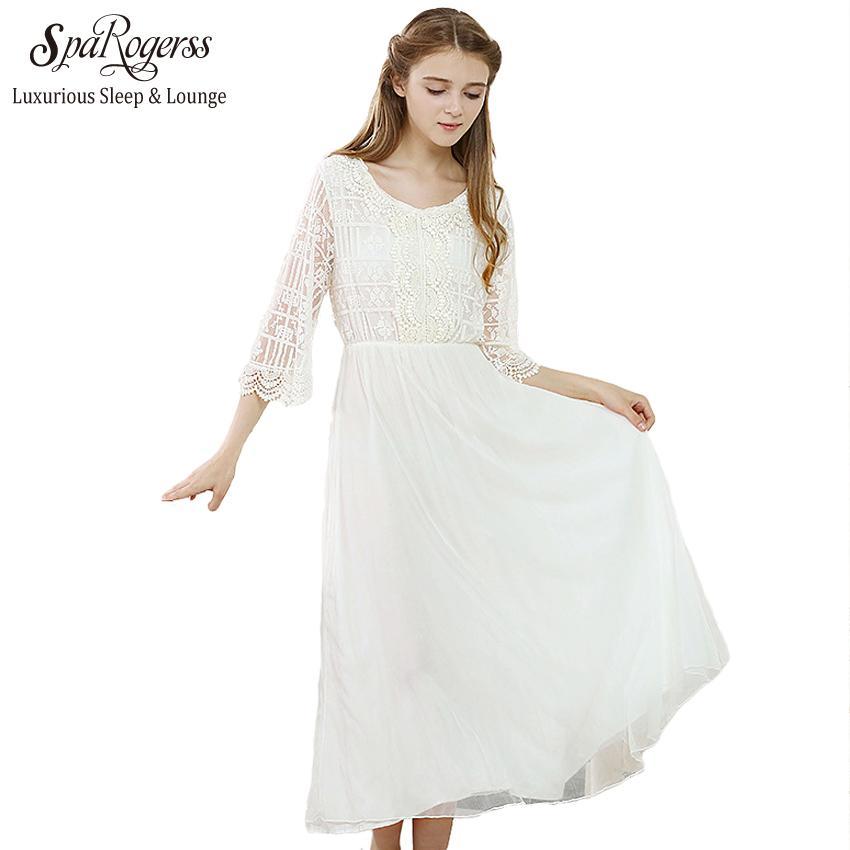 2018 2017 Long Cotton Nightgown Princess Sleep Lounge Women Soild ...