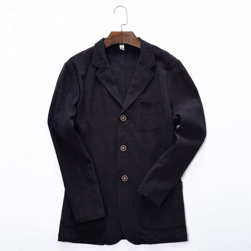21c32c97b6c 2018 Spring And Autumn Men Fashion Brand Vintage Japan Style Linen Loose  Jacket Suit Male Smart Casual Jacket Coat Import Cloth Denim Jacket Wool  Collar ...