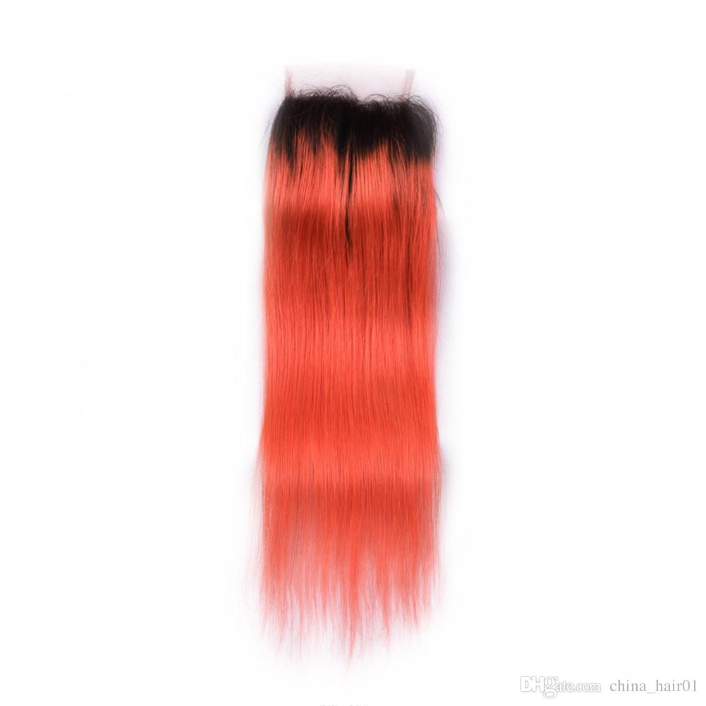 Ombre Orange Virgin Indian Human Hair Weaves with Closure Silky Straight #1B/Orange Ombre 4x4 Lace Closure with 3 Bundles Deals Extensions