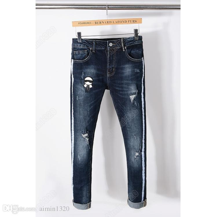 53da5afe0d58 Großhandel 2018 Rushed New Ankunft Männer Lange Dünne Europäische Und  Amerikanische Street Jeans Hosen Lafayette Stickerei Loch Gewaschen Kleine  Gerade ...