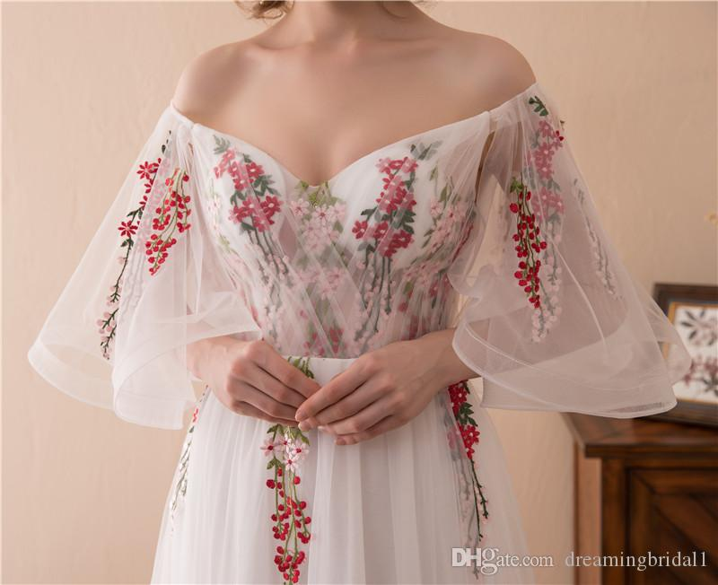 Basit Bir Çizgi Uzun Gelinlik Modelleri 2018 Yeni Kapalı Omuz Dantel Aplike Örgün Akşam Parti Kıyafeti Elbise Custom Made Artı Boyutu 17-6674