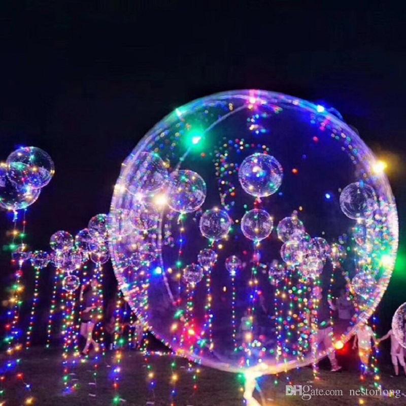 LED Bobo 풍선 프리미엄 깜박이 파티 풍선 크리스마스 파티 생일 파티 웨딩 홈 장식에 대한 채우기 쉬운 투명한 사랑 풍선