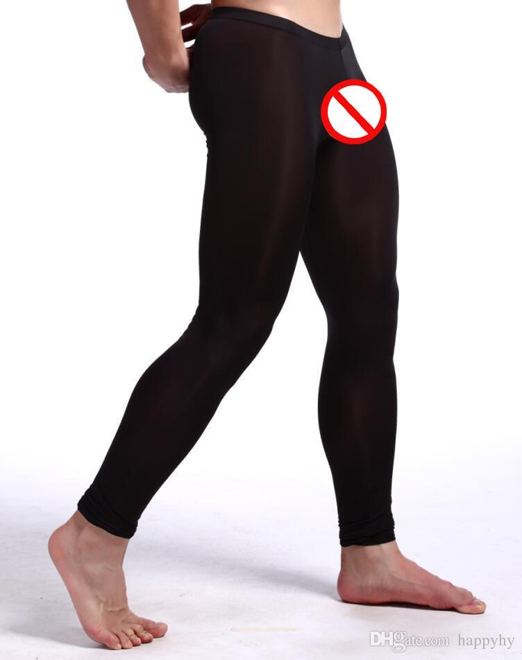 Intimo sexy da uomo Abbigliamento Trasparente Leggings Zentai Ballet Seta lunga johns Costumi Nylon Spandex seta Super stretch seta ghiaccio ghiaccio