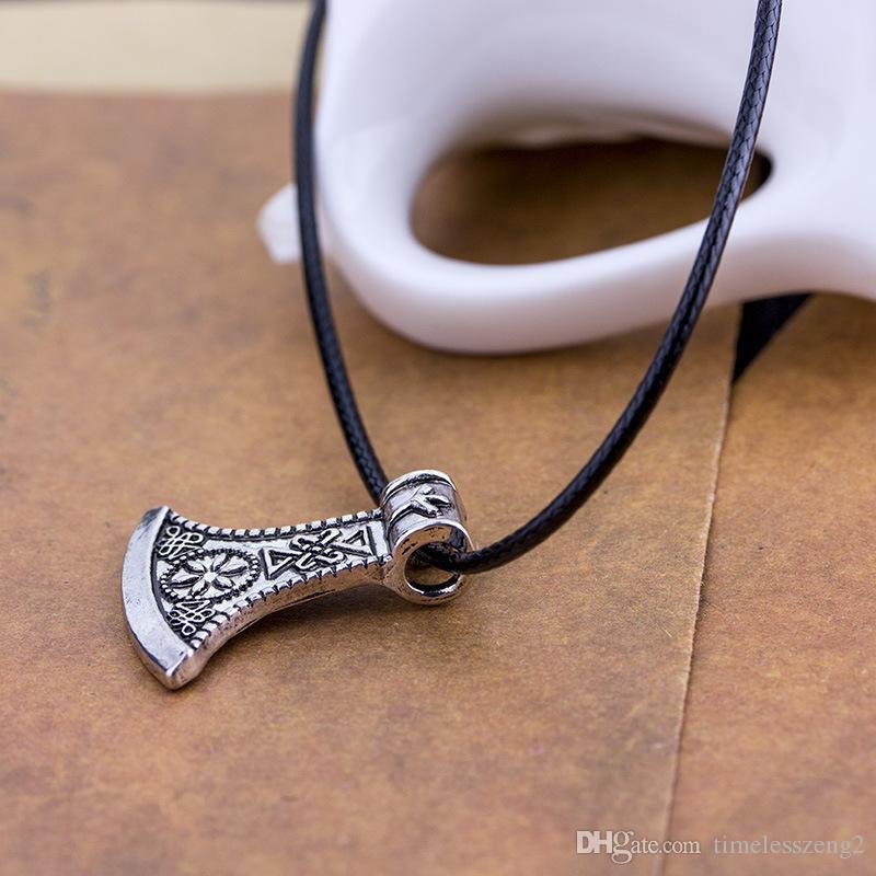 Trendy şık nordic korsanlar viking balta kolye kolye toptan vintage antik balta klavikula zincir kolye erkekler takı hediye