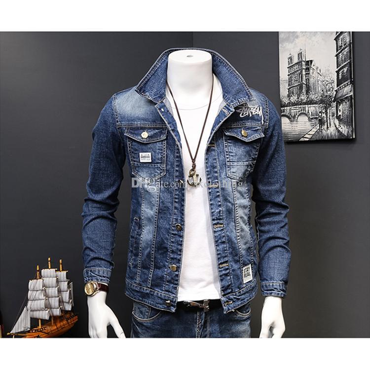 Elastic Embroidery Letter Vintage Denim Jeans Jacket For Men