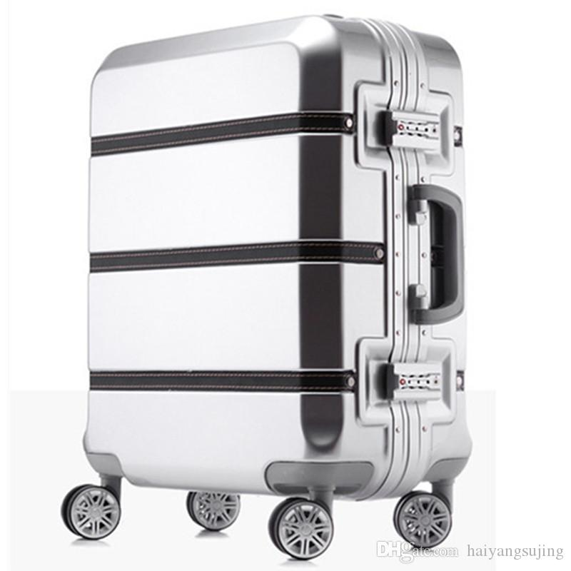 20 24 28 Inch Spinner ABS PC PU Splice Rolling Luggage Bag Hardside Cabin  Trolley Suitcase Case Aluminum Frame Brushed Travel Box Laptop Bags  Briefcase From ... d20d81f44e379