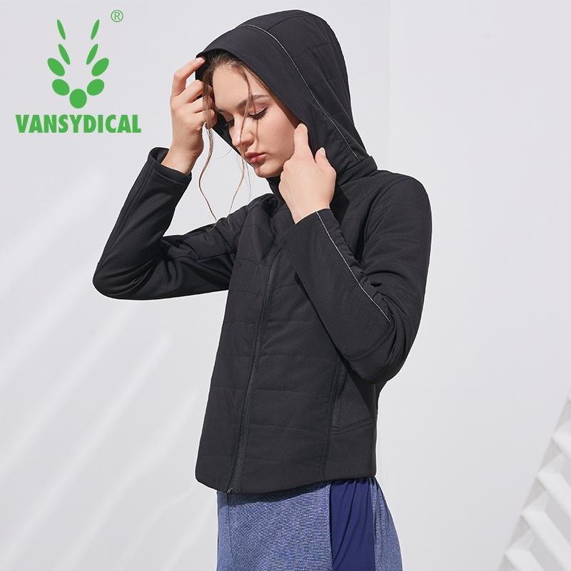 ccd0c6f545 Vansydical Winter Sports Cotton-padded Jacket Women's Hooded Windproof  Workout Sportswear Tops Fitness Running Yoga Jacket