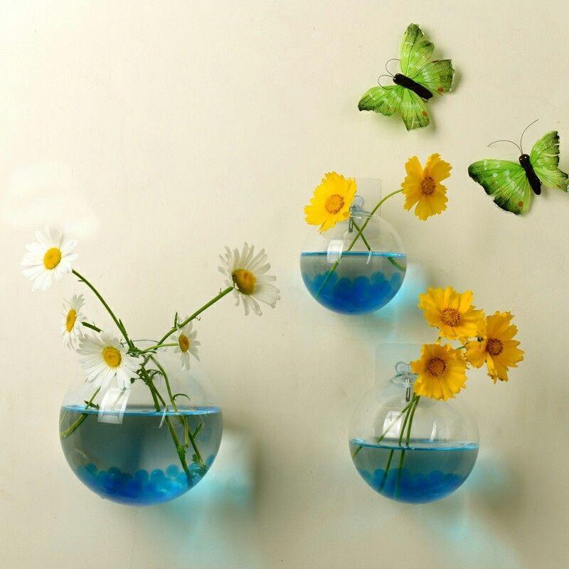 Hot Xmas Hanging Wall Vases Plant Flower Hanging Glass Vase