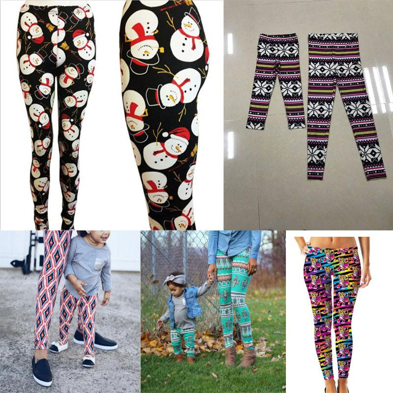 Christmas Mom Daughter Clothes Family Matching Outfit Mother Daughter Pants Bohemia Printed Leggings Mommy and Me Matching pantX