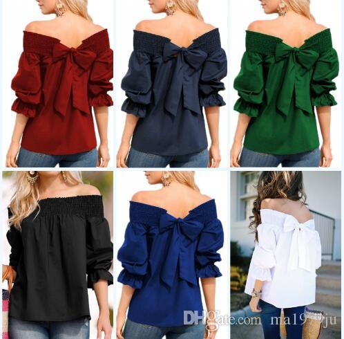 2631823d23906 2019 2018 Sexy Off Shoulder Spring Summer Strapless Women Blouse Bowknot  Tops Slash Neck Shirts Casual Loose Blusas Plus Size From Ma1979ju