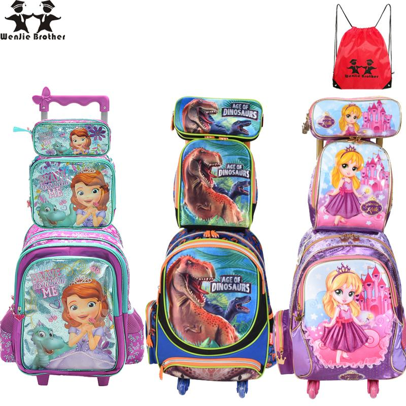 b2a48853af41 Wenjie Brother Children Mochilas Kids School Bags With Wheel Trolley  Luggage For Boys Girls Backpack Mochila Infantil Bolsas Y18110107 Cheap And  Cute ...