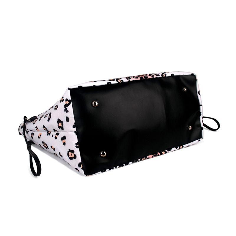 Women Black And White Ground Leopard Tote Bag Leopard Print Canvas Handbag Fashion Tote Bag Large Shopping Bag DOM874
