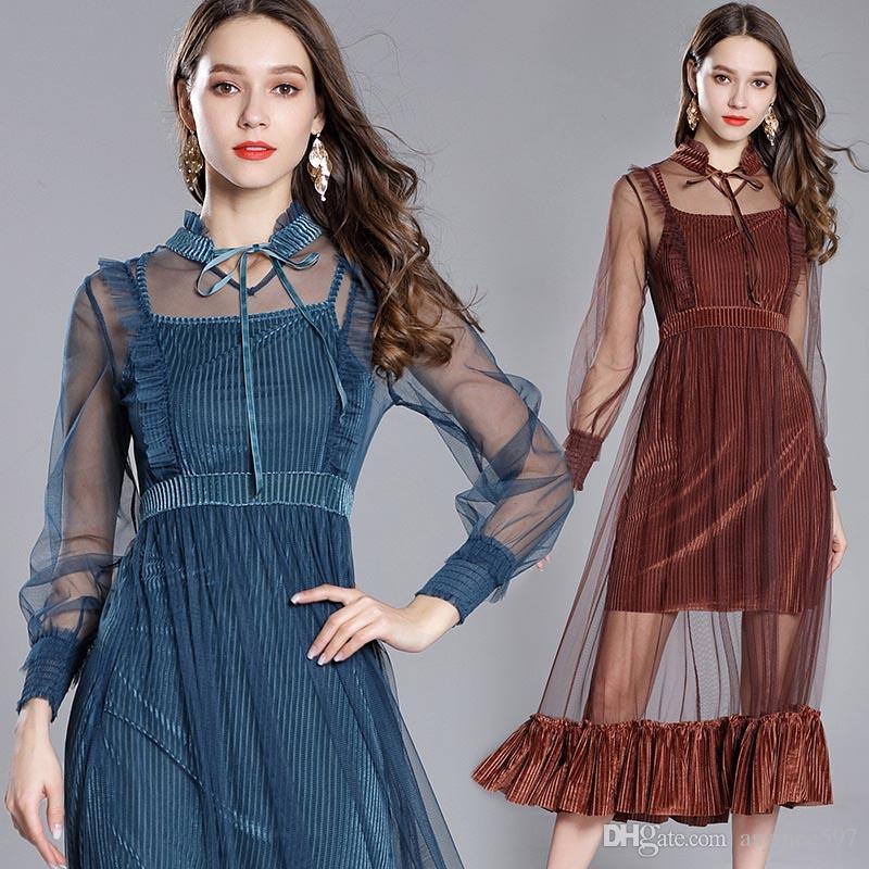 bf0dd85a9e85 2018 Fashion New Sexy Mesh Transparent Set Dress