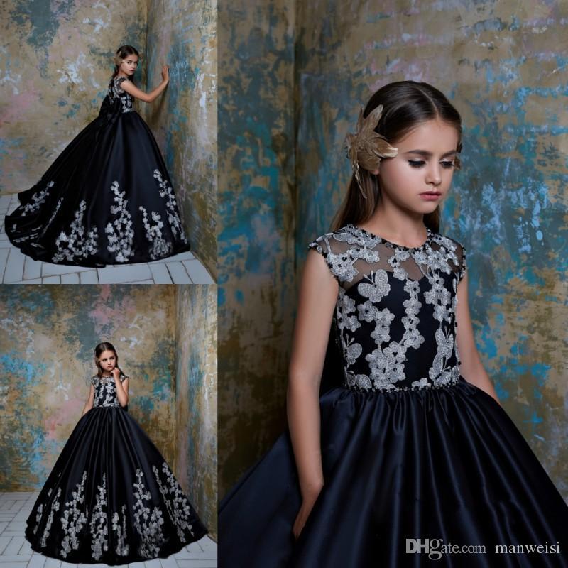 e933a09c343b3 Satın Al Pentelei 2019 Siyah Çiçek Kız Elbise Düğün İçin Kelebek ...