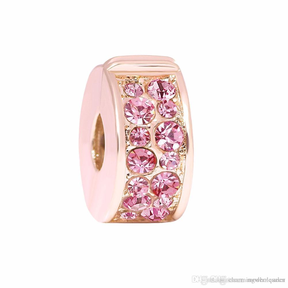 bd9a88d47 2019 Pink Rose Clip On Charms Fits Pandora Style Bracelets Shining Elegance  Z H9 From Charmingwholesaler, $42.29 | DHgate.Com