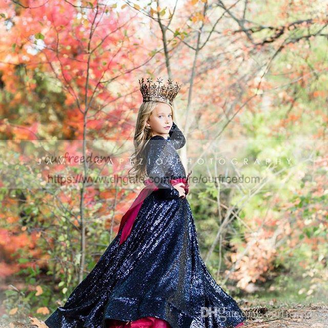 Mignon Bleu Marine Paillettes À Manches Longues Fleur Filles Robes Une Ligne Bordeaux Tulle Enfants Pageant Robe Première Communion Robes Sur Mesure Hot