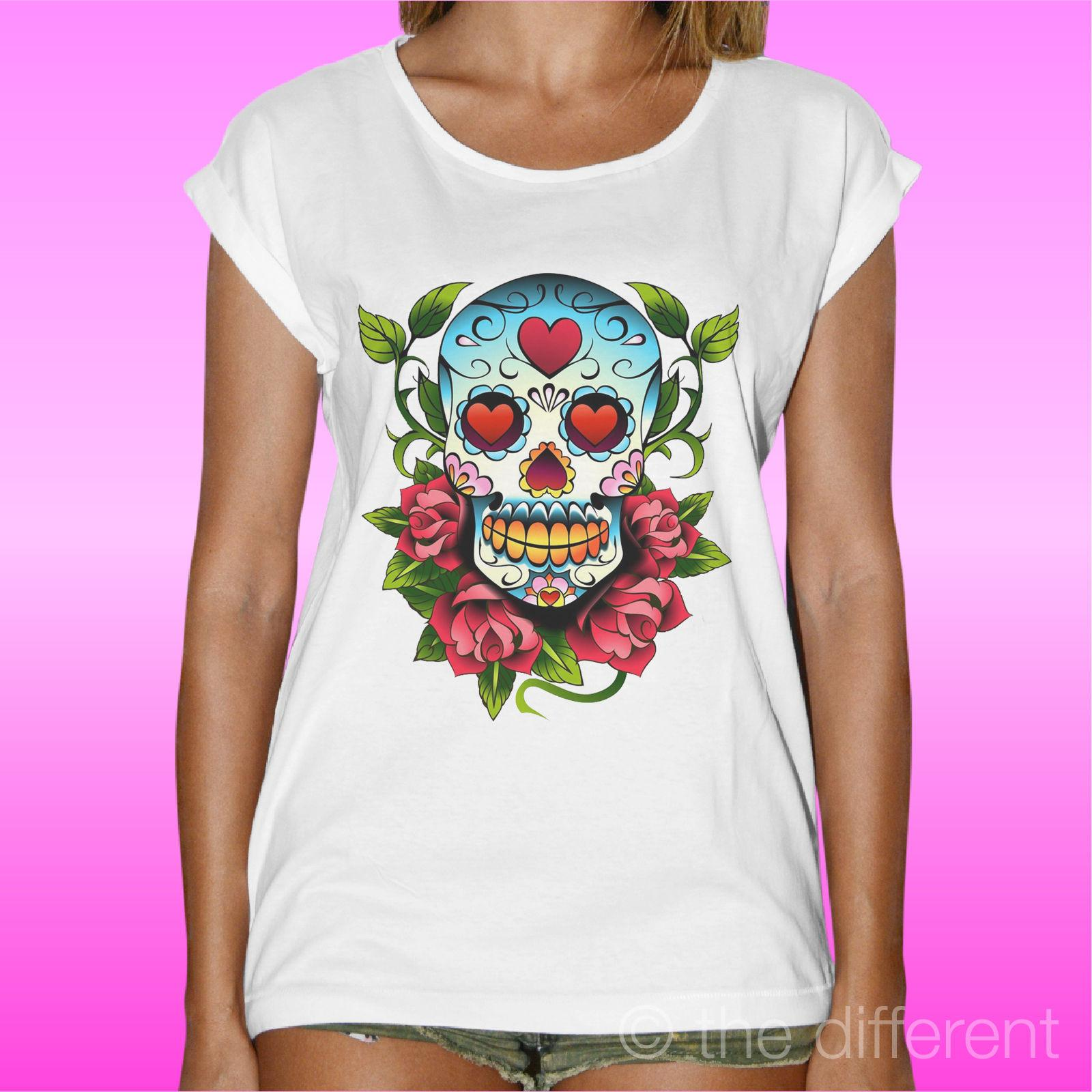 De Camiseta Flores Mexicana Mujer Calavera Regalo Idea uK1c5F3lJT