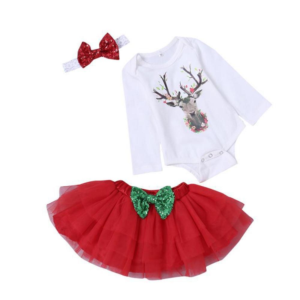 22605f5d4701 Acquista Neonate Di Natale Pagliaccetti Vestiti Di Cotone A Manica Lunga  Cartoni Animati Di Neonato Elk Stampa Pagliaccetti + Gonne + Fascia 3 Pezzi  Abiti ...