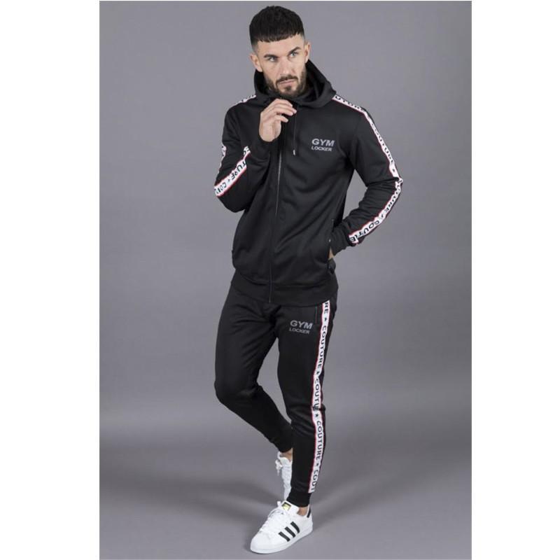 Compre Gimnasios Conjuntos De Hombres 2018 Moda Deportiva Chándales  Conjuntos Hombres Sudaderas Con Capucha + Pantalones Casual Outwear Trajes  Chandal ... fa0a851d5322f