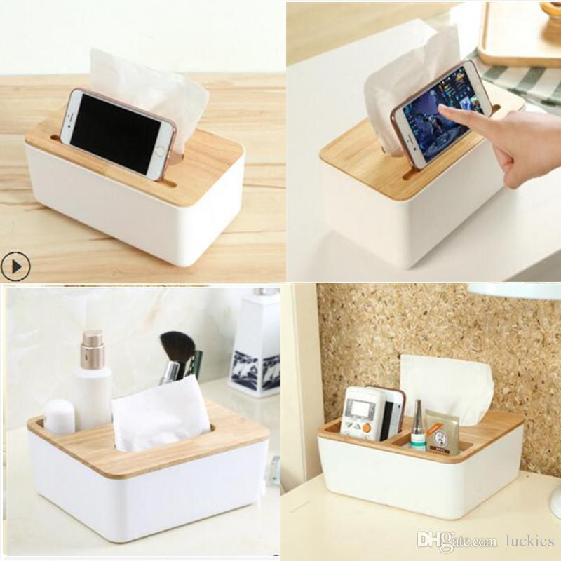2018 Home Kitchen Wooden Plastic Tissue Box Europe Solid Wood Napkin Holder Case Simple Stylish 3 Style