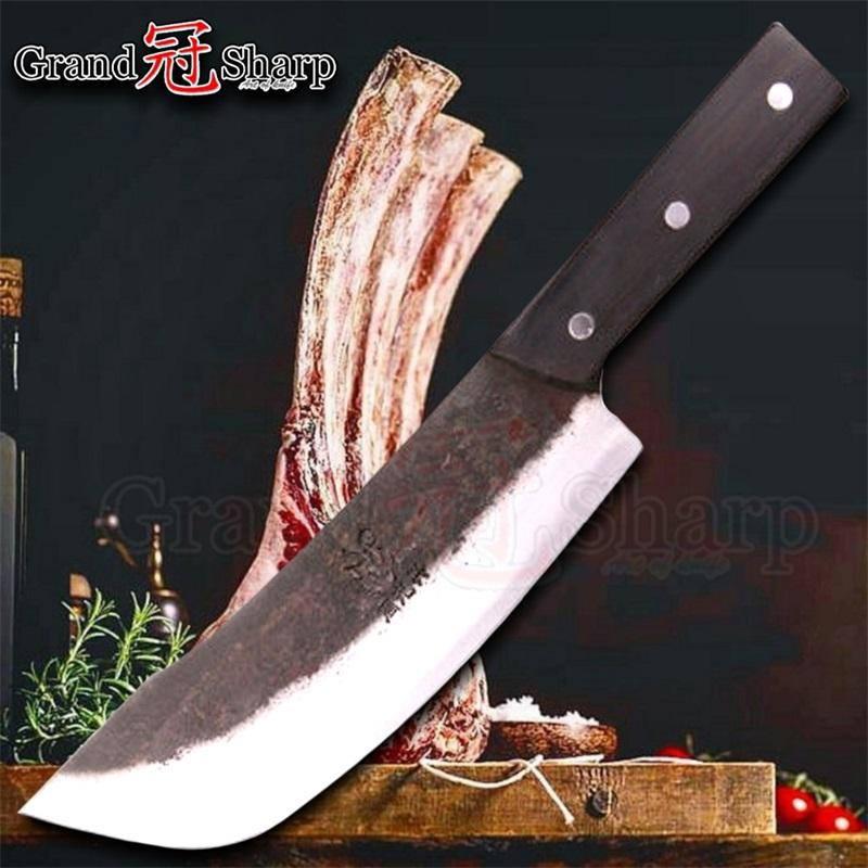 8 Inch Chef Cleaver Knife Chopper Slicing Cooking Tools Handmade Kitchen Chef Knives Traditional Chinese Style Pro Sharp Slaughter Knife