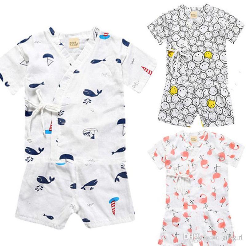 Janpanese Style Kid Linen Kimono Pajamas Children Baby Two Pieces ...
