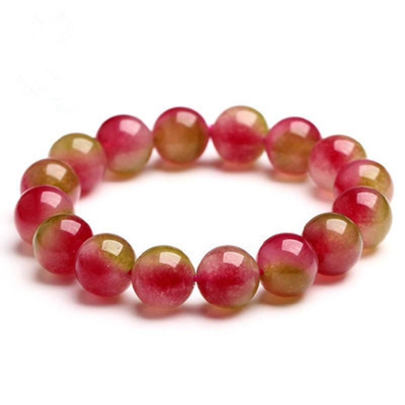 Watermelon Chalcedony Natural Ice Crystal Bracelet Woman Hand String Jewelry Trill Small Video Seeding Bracelet Group