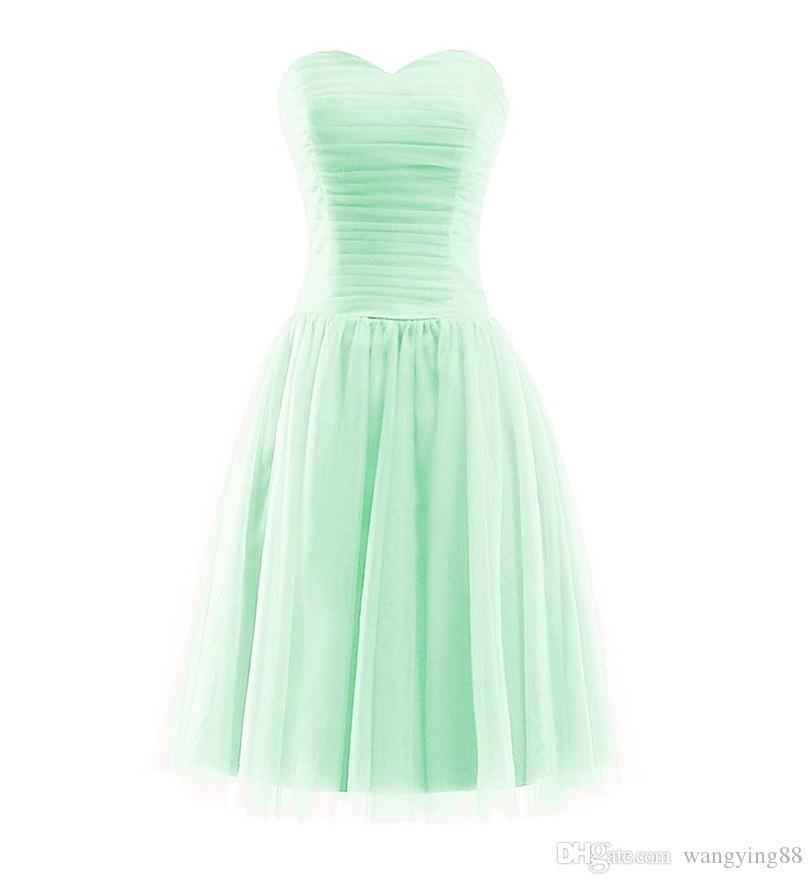 Custom made Tulle Short Bridesmaid Dresses The Bride Pleat Sleeveless Banquet Party Gown Custom Plus Size Formal Dress
