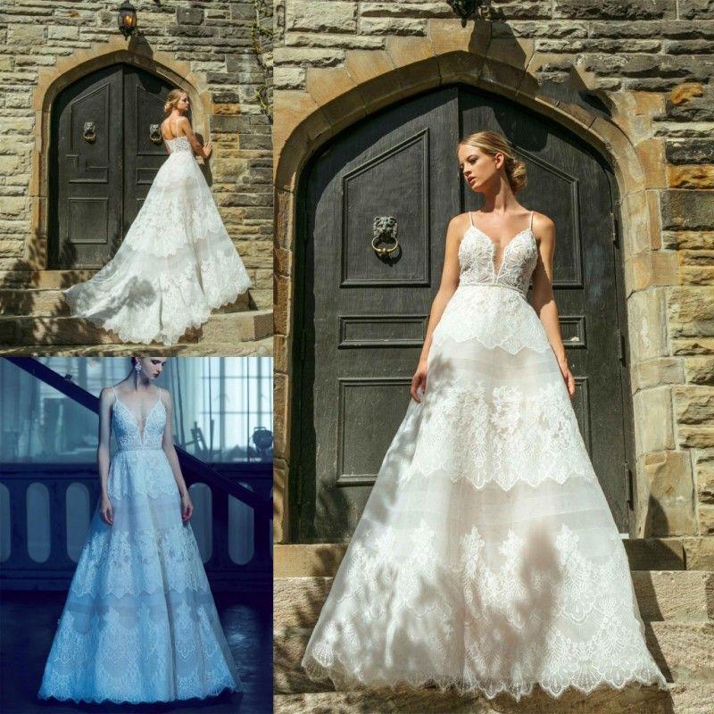 Discount Princess Wedding Dress Exquisite Lace Applique Deep V Neck ...